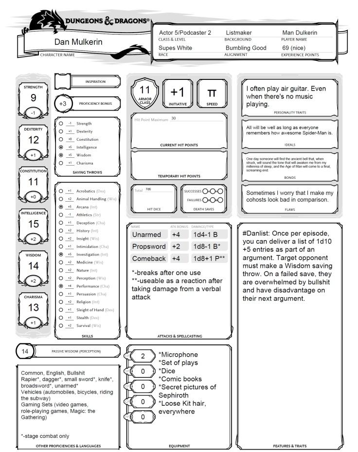 Dan's Character Sheet